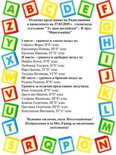 """Аз зная английски"" - II кръг на ""Многознайко"" - СУ Цветан Радославов - Свищов"